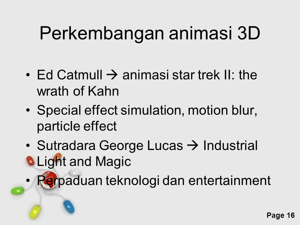 Free Powerpoint Templates Page 16 Perkembangan animasi 3D Ed Catmull  animasi star trek II: the wrath of Kahn Special effect simulation, motion blur,