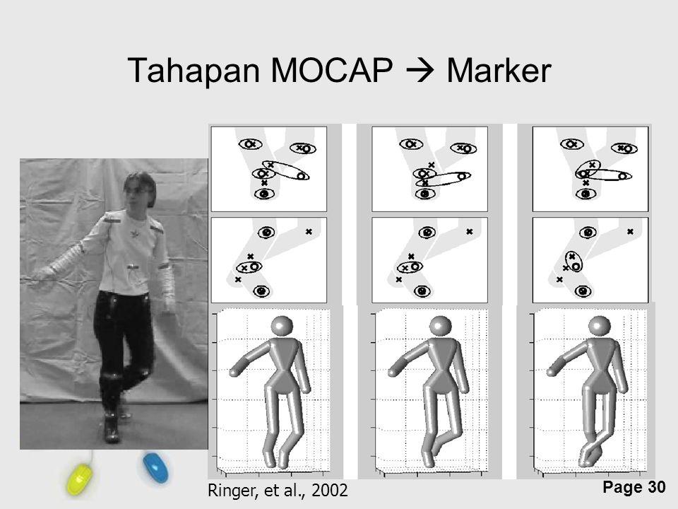 Free Powerpoint Templates Page 30 Tahapan MOCAP  Marker Ringer, et al., 2002