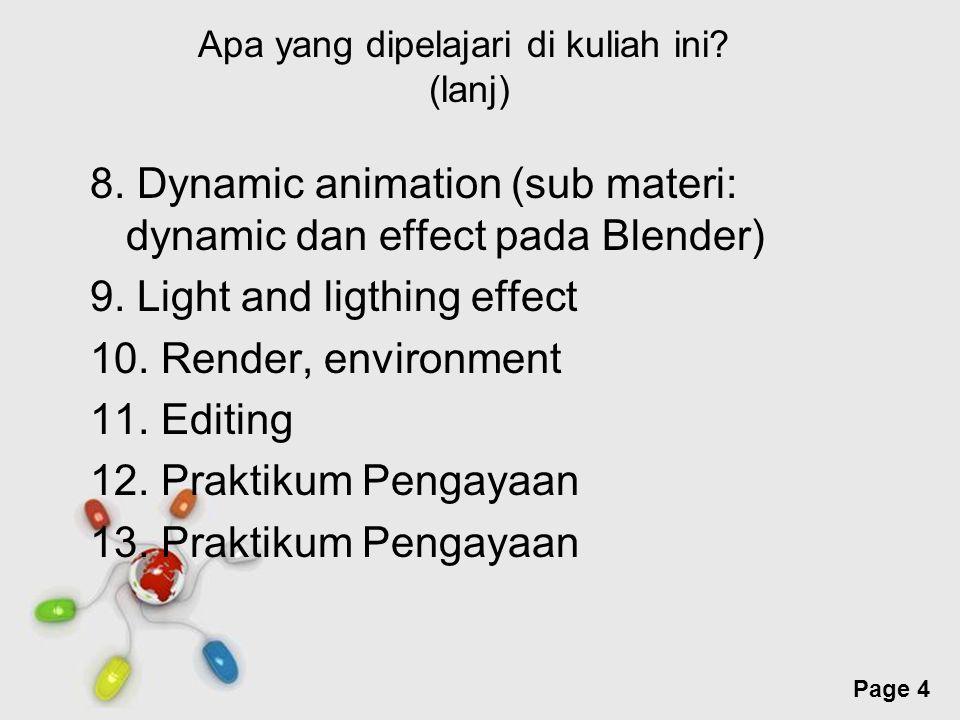 Free Powerpoint Templates Page 4 Apa yang dipelajari di kuliah ini? (lanj) 8. Dynamic animation (sub materi: dynamic dan effect pada Blender) 9. Light