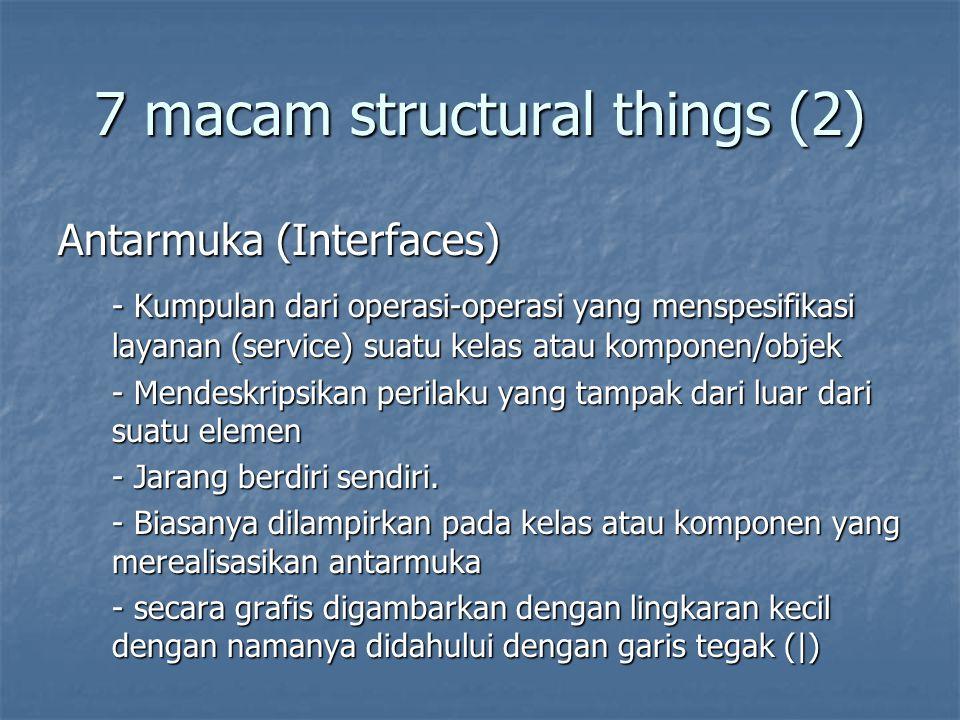 7 macam structural things (2) Antarmuka (Interfaces) - Kumpulan dari operasi-operasi yang menspesifikasi layanan (service) suatu kelas atau komponen/objek - Mendeskripsikan perilaku yang tampak dari luar dari suatu elemen - Jarang berdiri sendiri.
