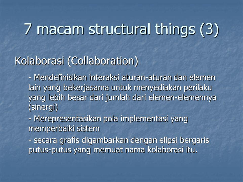 7 macam structural things (3) Kolaborasi (Collaboration) - Mendefinisikan interaksi aturan-aturan dan elemen lain yang bekerjasama untuk menyediakan perilaku yang lebih besar dari jumlah dari elemen-elemennya (sinergi) - Merepresentasikan pola implementasi yang memperbaiki sistem - secara grafis digambarkan dengan elipsi bergaris putus-putus yang memuat nama kolaborasi itu.