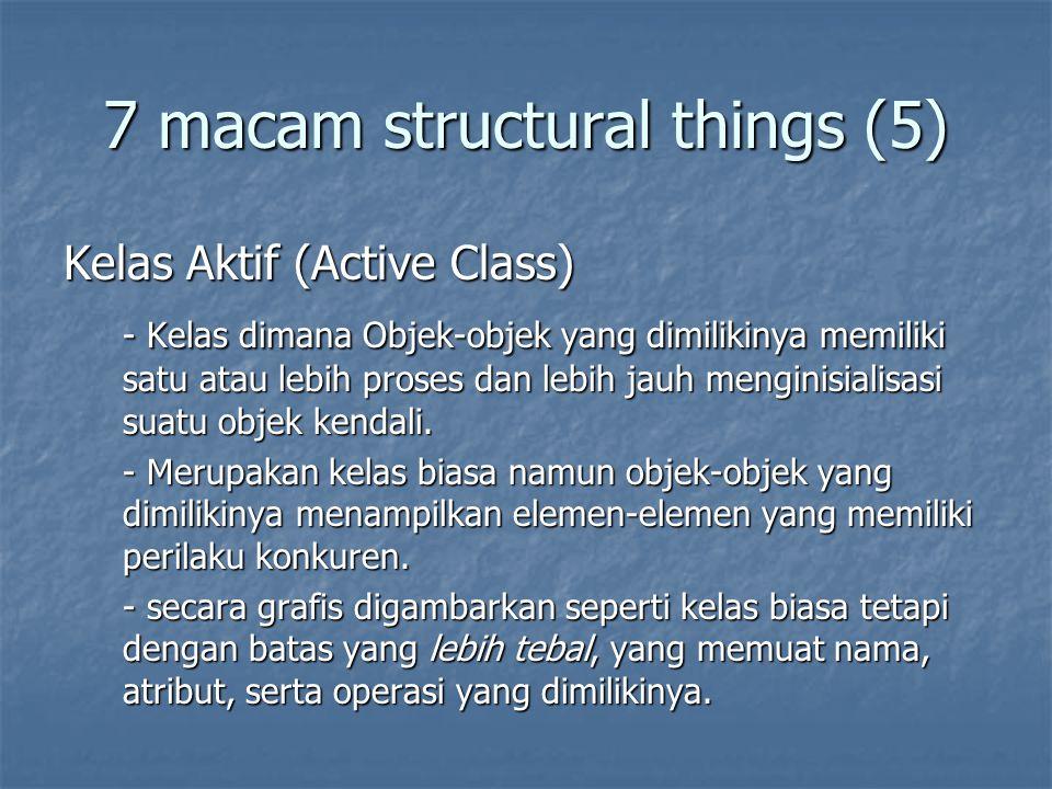 7 macam structural things (5) Kelas Aktif (Active Class) - Kelas dimana Objek-objek yang dimilikinya memiliki satu atau lebih proses dan lebih jauh menginisialisasi suatu objek kendali.