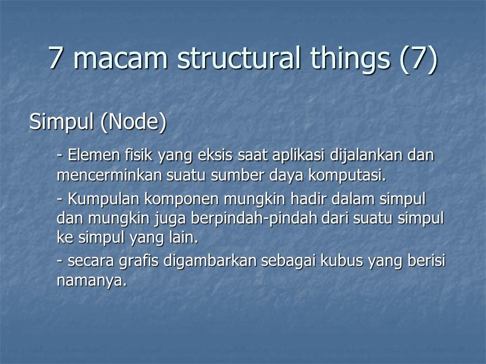 7 macam structural things (7) Simpul (Node) - Elemen fisik yang eksis saat aplikasi dijalankan dan mencerminkan suatu sumber daya komputasi.