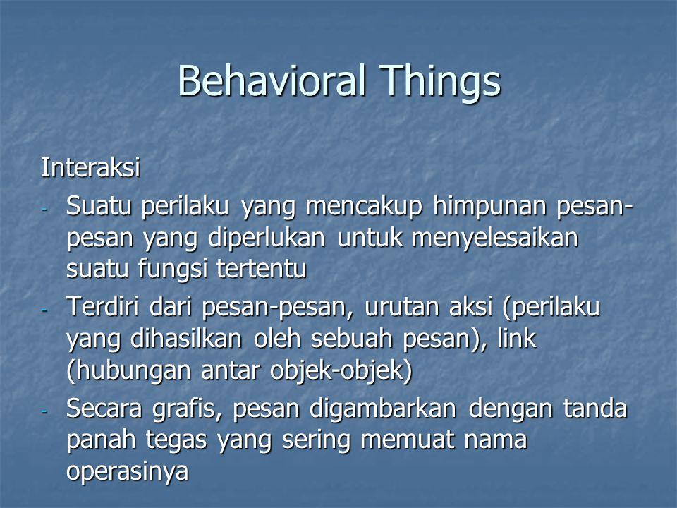 Behavioral Things Interaksi - Suatu perilaku yang mencakup himpunan pesan- pesan yang diperlukan untuk menyelesaikan suatu fungsi tertentu - Terdiri dari pesan-pesan, urutan aksi (perilaku yang dihasilkan oleh sebuah pesan), link (hubungan antar objek-objek) - Secara grafis, pesan digambarkan dengan tanda panah tegas yang sering memuat nama operasinya