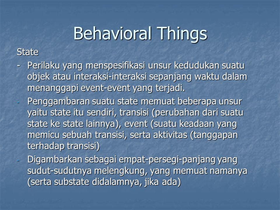 Behavioral Things State -Perilaku yang menspesifikasi unsur kedudukan suatu objek atau interaksi-interaksi sepanjang waktu dalam menanggapi event-event yang terjadi.