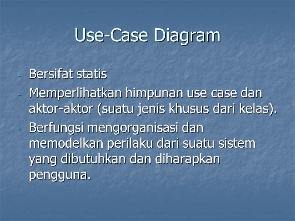 Use-Case Diagram - Bersifat statis - Memperlihatkan himpunan use case dan aktor-aktor (suatu jenis khusus dari kelas).