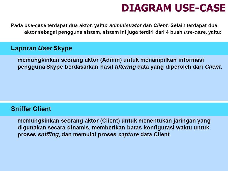 DIAGRAM USE-CASE Sniffer Client Laporan User Skype Pada use-case terdapat dua aktor, yaitu: administrator dan Client. Selain terdapat dua aktor sebaga
