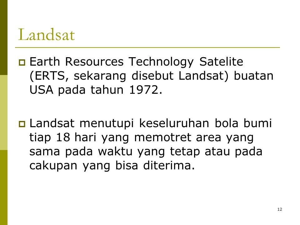 12 Landsat  Earth Resources Technology Satelite (ERTS, sekarang disebut Landsat) buatan USA pada tahun 1972.  Landsat menutupi keseluruhan bola bumi