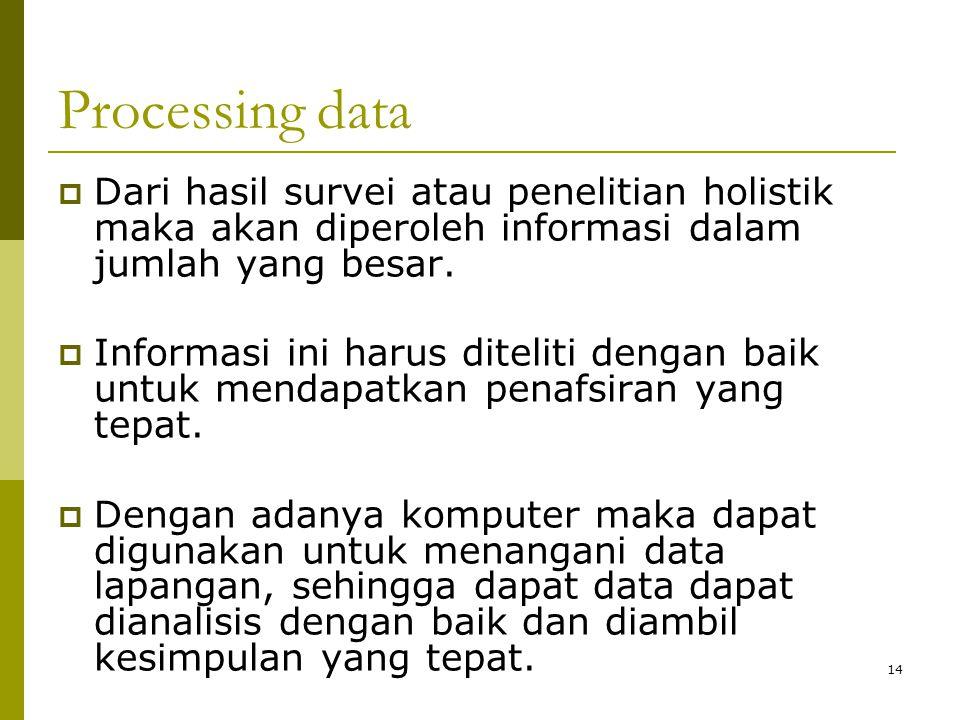 14 Processing data  Dari hasil survei atau penelitian holistik maka akan diperoleh informasi dalam jumlah yang besar.  Informasi ini harus diteliti