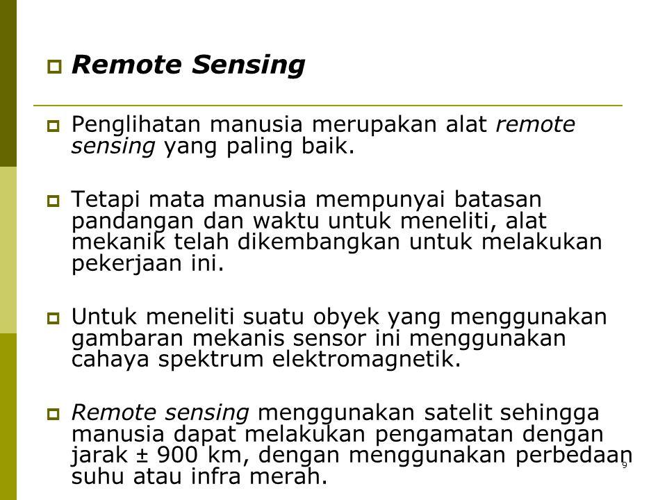 9  Remote Sensing  Penglihatan manusia merupakan alat remote sensing yang paling baik.  Tetapi mata manusia mempunyai batasan pandangan dan waktu u