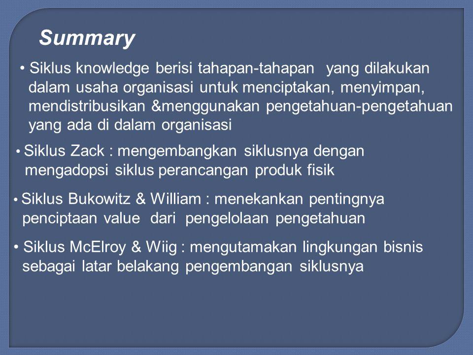 Summary Siklus knowledge berisi tahapan-tahapan yang dilakukan dalam usaha organisasi untuk menciptakan, menyimpan, mendistribusikan &menggunakan peng