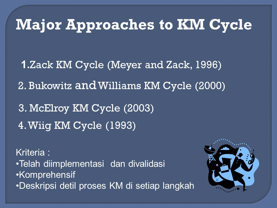 Major Approaches to KM Cycle 1.Zack KM Cycle (Meyer and Zack, 1996) 2.