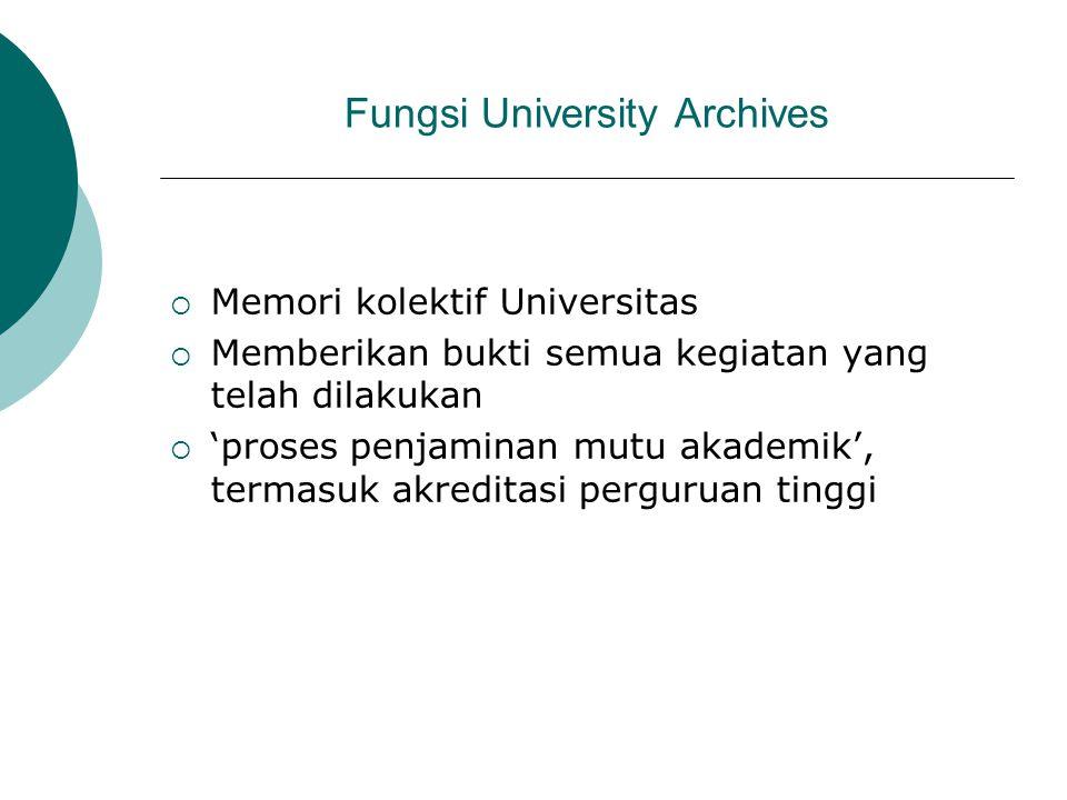 Fungsi University Archives  Memori kolektif Universitas  Memberikan bukti semua kegiatan yang telah dilakukan  'proses penjaminan mutu akademik', t
