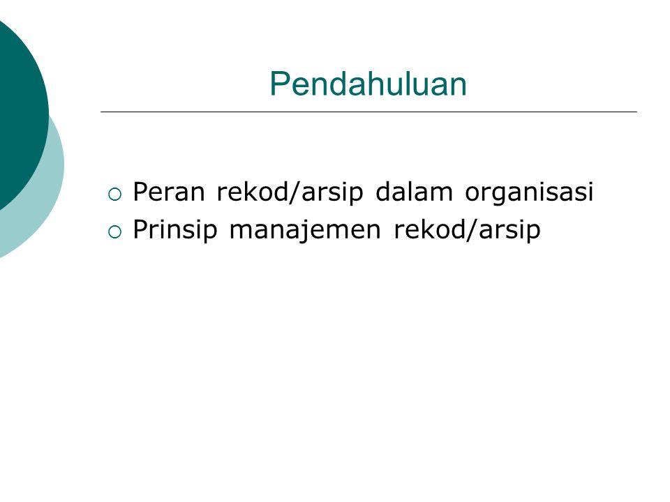 Pendahuluan  Peran rekod/arsip dalam organisasi  Prinsip manajemen rekod/arsip