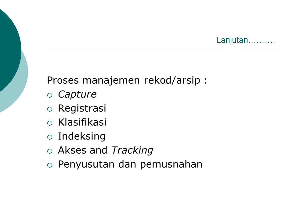Lanjutan………. Proses manajemen rekod/arsip :  Capture  Registrasi  Klasifikasi  Indeksing  Akses and Tracking  Penyusutan dan pemusnahan