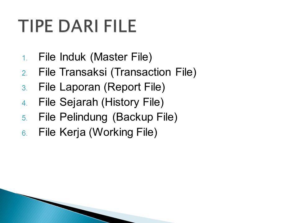 1. File Induk (Master File) 2. File Transaksi (Transaction File) 3. File Laporan (Report File) 4. File Sejarah (History File) 5. File Pelindung (Backu