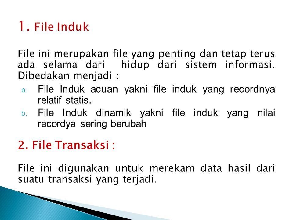 File ini merupakan file yang penting dan tetap terus ada selama dari hidup dari sistem informasi. Dibedakan menjadi : a. File Induk acuan yakni file i