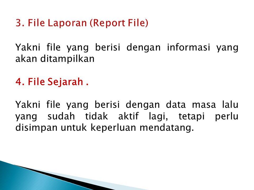 Yakni file yang berisi dengan informasi yang akan ditampilkan 4. File Sejarah. Yakni file yang berisi dengan data masa lalu yang sudah tidak aktif lag