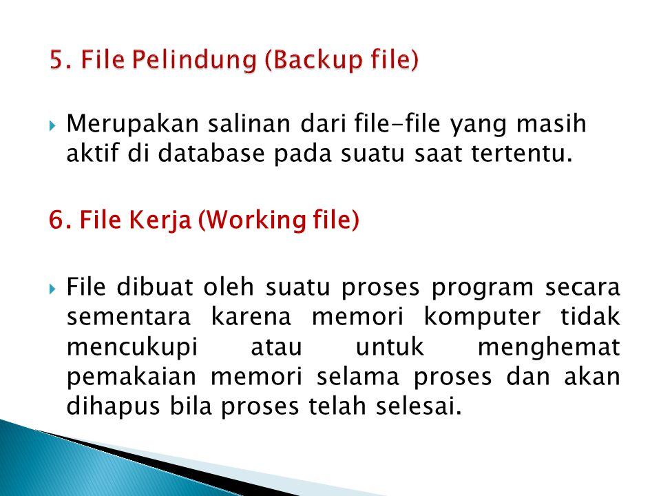  Merupakan salinan dari file-file yang masih aktif di database pada suatu saat tertentu. 6. File Kerja (Working file)  File dibuat oleh suatu proses