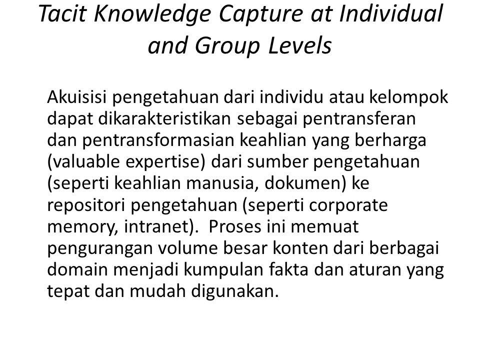 Tacit Knowledge Capture at Individual and Group Levels Akuisisi pengetahuan dari individu atau kelompok dapat dikarakteristikan sebagai pentransferan