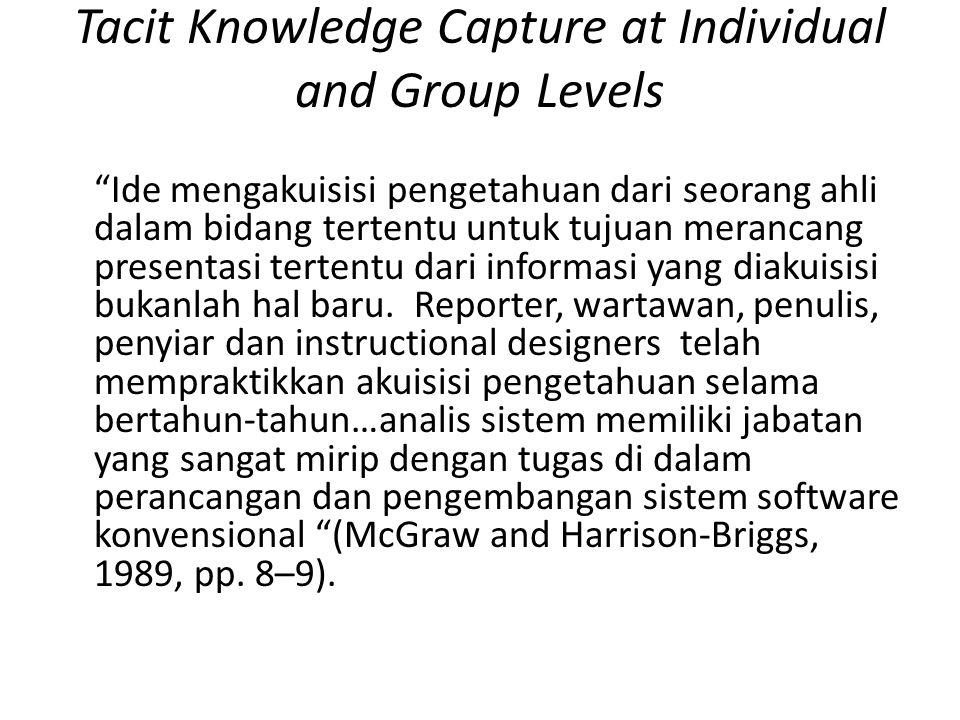 Tacit Knowledge Capture at Individual and Group Levels Ide mengakuisisi pengetahuan dari seorang ahli dalam bidang tertentu untuk tujuan merancang presentasi tertentu dari informasi yang diakuisisi bukanlah hal baru.