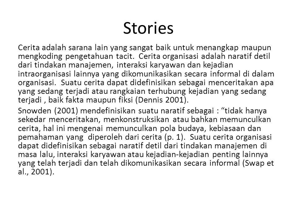 Stories Cerita adalah sarana lain yang sangat baik untuk menangkap maupun mengkoding pengetahuan tacit. Cerita organisasi adalah naratif detil dari ti