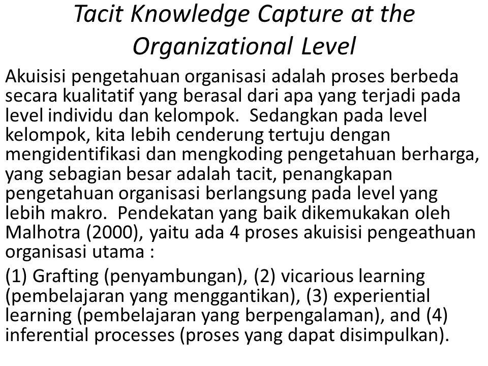 Tacit Knowledge Capture at the Organizational Level Akuisisi pengetahuan organisasi adalah proses berbeda secara kualitatif yang berasal dari apa yang terjadi pada level individu dan kelompok.