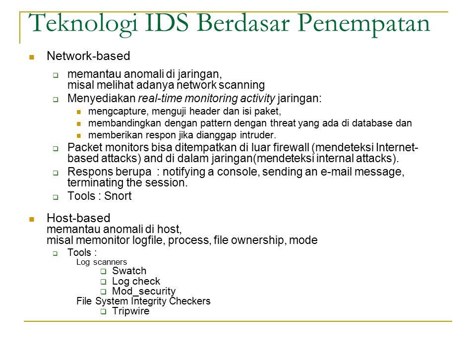 Teknologi IDS Berdasar Penempatan Network-based  memantau anomali di jaringan, misal melihat adanya network scanning  Menyediakan real-time monitori