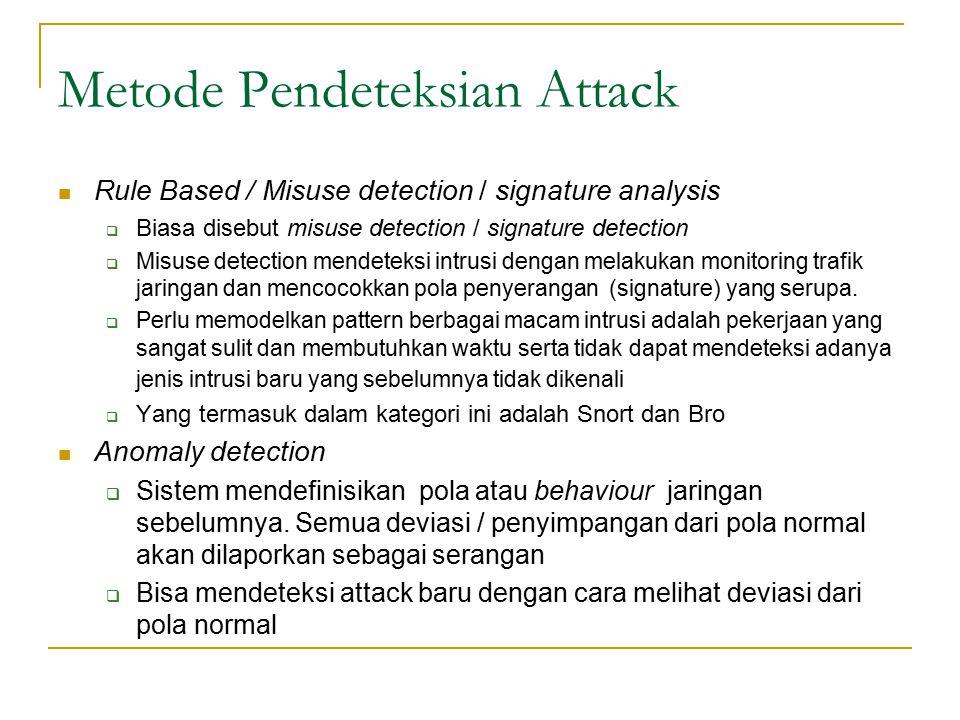 Metode Pendeteksian Attack Rule Based / Misuse detection / signature analysis  Biasa disebut misuse detection / signature detection  Misuse detectio