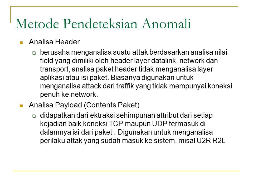 Metode Pendeteksian Anomali Analisa Header  berusaha menganalisa suatu attak berdasarkan analisa nilai field yang dimiliki oleh header layer datalink