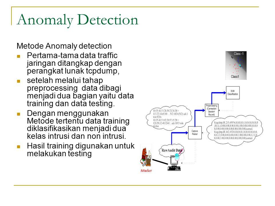 Anomaly Detection Metode Anomaly detection Pertama-tama data traffic jaringan ditangkap dengan perangkat lunak tcpdump, setelah melalui tahap preproce