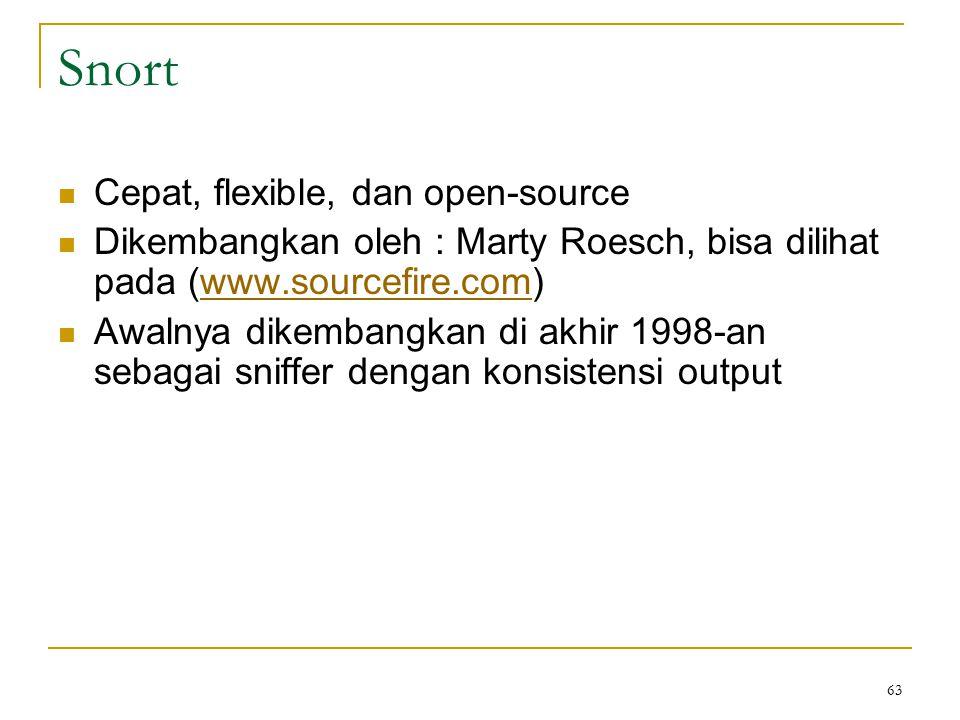 Snort Cepat, flexible, dan open-source Dikembangkan oleh : Marty Roesch, bisa dilihat pada (www.sourcefire.com)www.sourcefire.com Awalnya dikembangkan