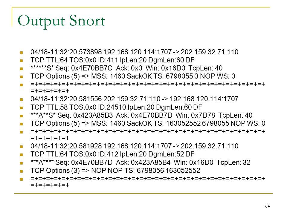 Output Snort 04/18-11:32:20.573898 192.168.120.114:1707 -> 202.159.32.71:110 TCP TTL:64 TOS:0x0 ID:411 IpLen:20 DgmLen:60 DF ******S* Seq: 0x4E70BB7C