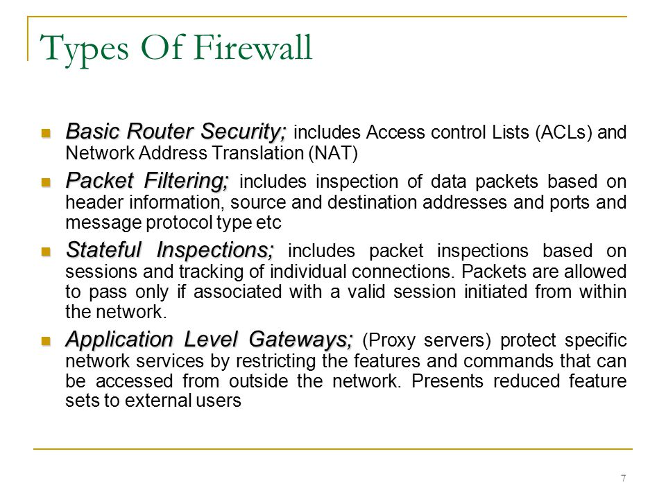 7 Types Of Firewall Basic Router Security; Basic Router Security; includes Access control Lists (ACLs) and Network Address Translation (NAT) Packet Fi