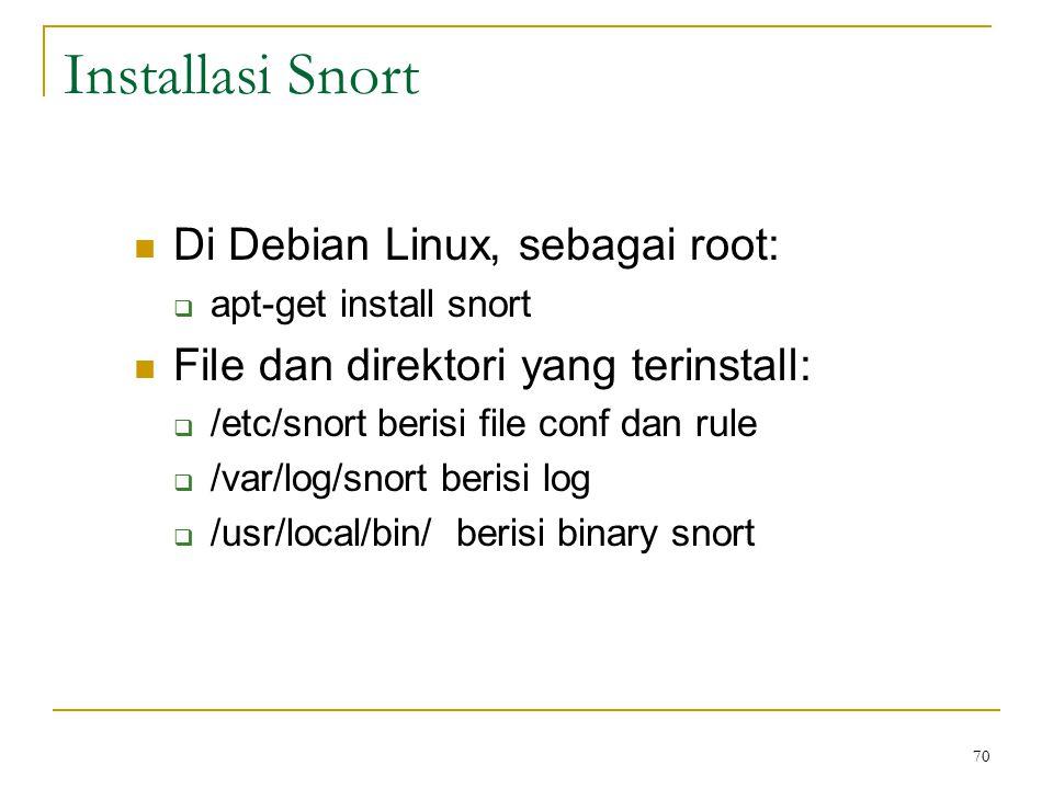 Installasi Snort Di Debian Linux, sebagai root:  apt-get install snort File dan direktori yang terinstall:  /etc/snort berisi file conf dan rule  /