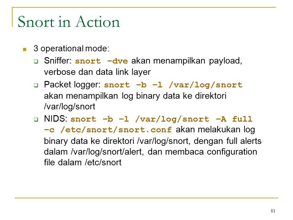 Snort in Action 3 operational mode:  Sniffer: snort –dve akan menampilkan payload, verbose dan data link layer  Packet logger: snort –b –l /var/log/