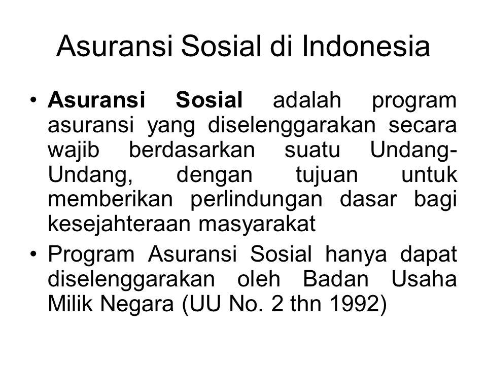 Asuransi Sosial di Indonesia Asuransi Sosial adalah program asuransi yang diselenggarakan secara wajib berdasarkan suatu Undang- Undang, dengan tujuan