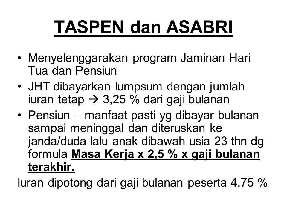 TASPEN dan ASABRI Menyelenggarakan program Jaminan Hari Tua dan Pensiun JHT dibayarkan lumpsum dengan jumlah iuran tetap  3,25 % dari gaji bulanan Pe