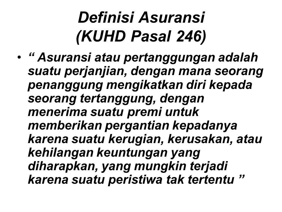 "Definisi Asuransi (KUHD Pasal 246) "" Asuransi atau pertanggungan adalah suatu perjanjian, dengan mana seorang penanggung mengikatkan diri kepada seora"