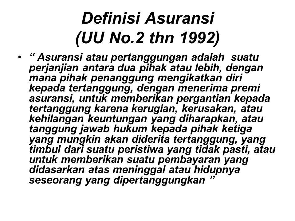 """Definisi Asuransi (UU No.2 thn 1992) """" Asuransi atau pertanggungan adalah suatu perjanjian antara dua pihak atau lebih, dengan mana pihak penanggung m"""