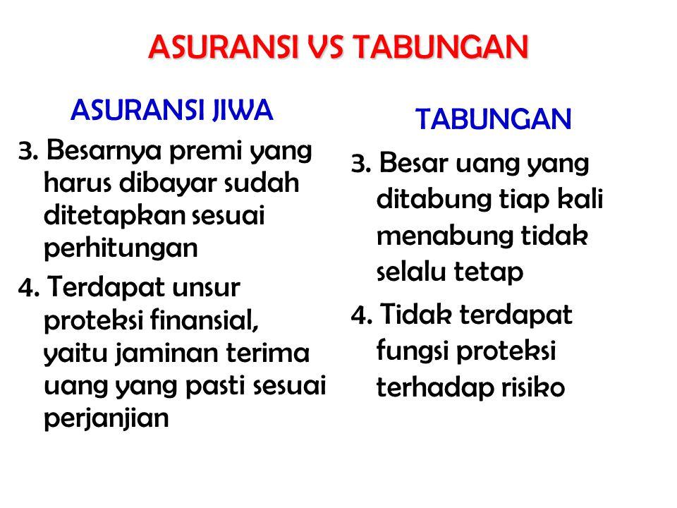 ASURANSI JIWA 3. Besarnya premi yang harus dibayar sudah ditetapkan sesuai perhitungan 4. Terdapat unsur proteksi finansial, yaitu jaminan terima uang