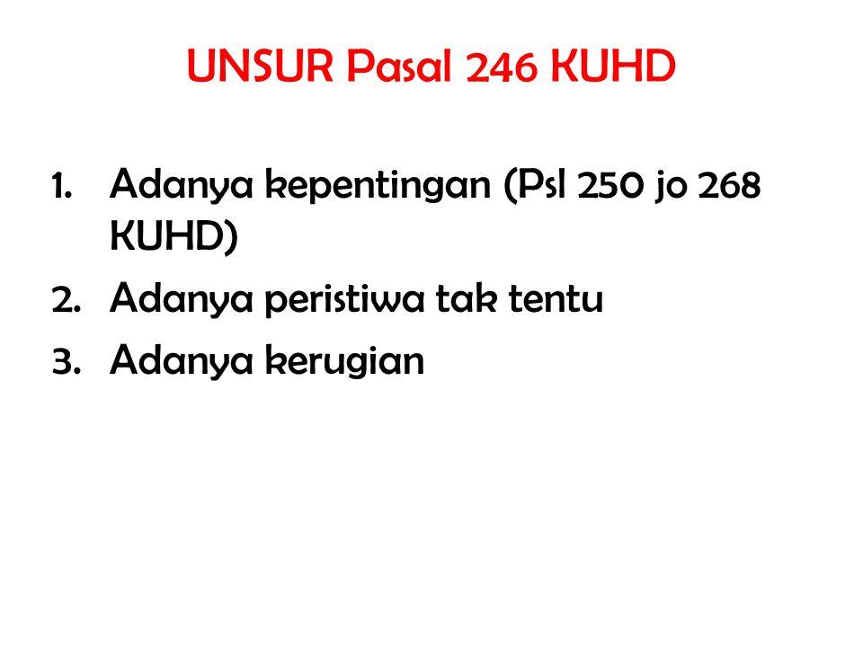 UNSUR Pasal 246 KUHD 1.Adanya kepentingan (Psl 250 jo 268 KUHD) 2.Adanya peristiwa tak tentu 3.Adanya kerugian