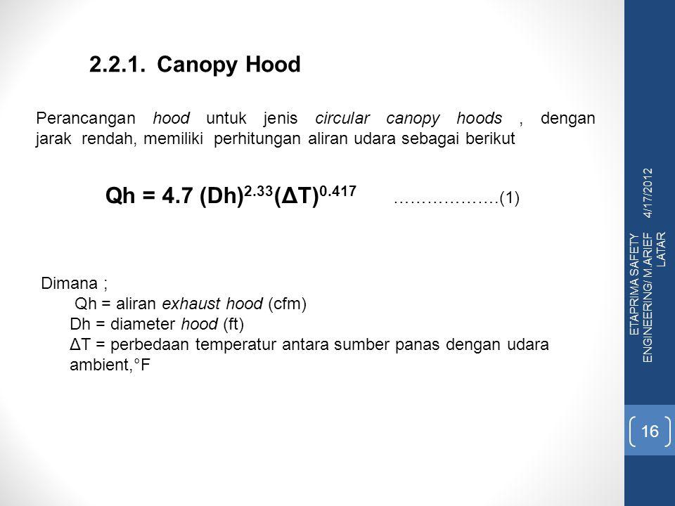 4/17/2012 ETAPRIMA SAFETY ENGINEERING/ M.ARIEF LATAR 16 2.2.1. Canopy Hood Perancangan hood untuk jenis circular canopy hoods, dengan jarak rendah, me