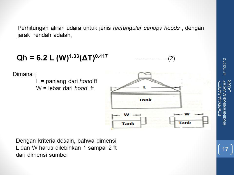 4/17/2012 ETAPRIMA SAFETY ENGINEERING/ M.ARIEF LATAR 17 Perhitungan aliran udara untuk jenis rectangular canopy hoods, dengan jarak rendah adalah, Qh