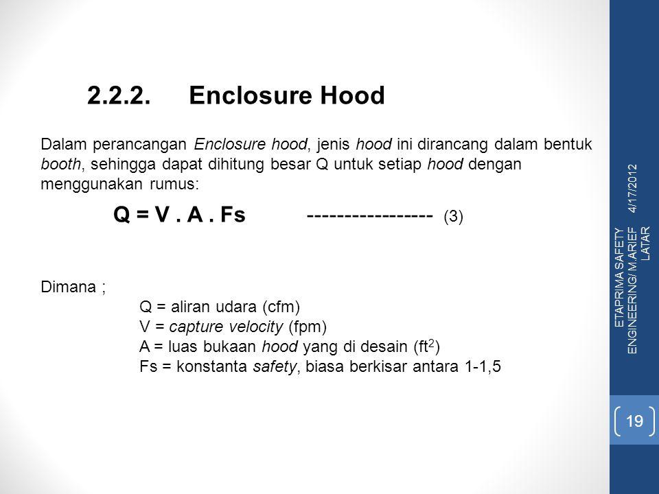 4/17/2012 ETAPRIMA SAFETY ENGINEERING/ M.ARIEF LATAR 19 2.2.2. Enclosure Hood Dalam perancangan Enclosure hood, jenis hood ini dirancang dalam bentuk