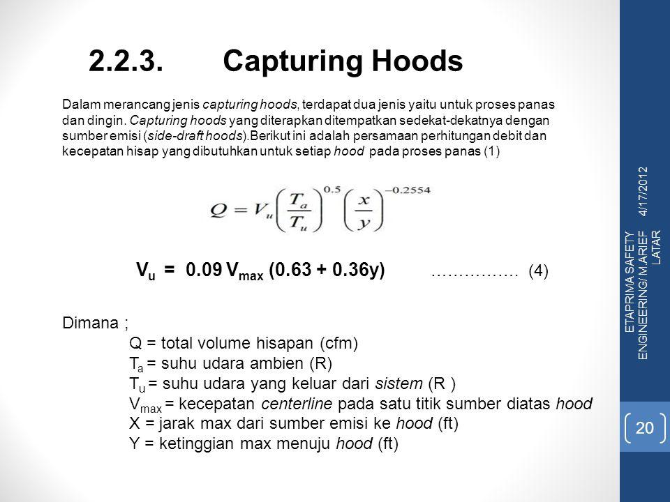 4/17/2012 ETAPRIMA SAFETY ENGINEERING/ M.ARIEF LATAR 20 2.2.3.Capturing Hoods Dalam merancang jenis capturing hoods, terdapat dua jenis yaitu untuk pr