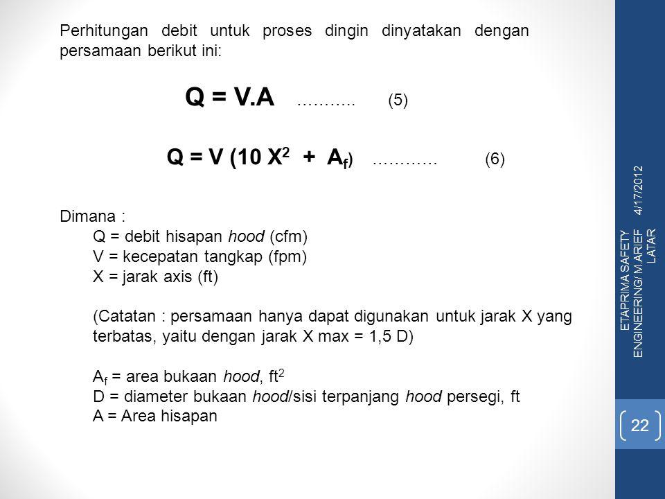 4/17/2012 ETAPRIMA SAFETY ENGINEERING/ M.ARIEF LATAR 22 Perhitungan debit untuk proses dingin dinyatakan dengan persamaan berikut ini: Q = V.A ……….. (