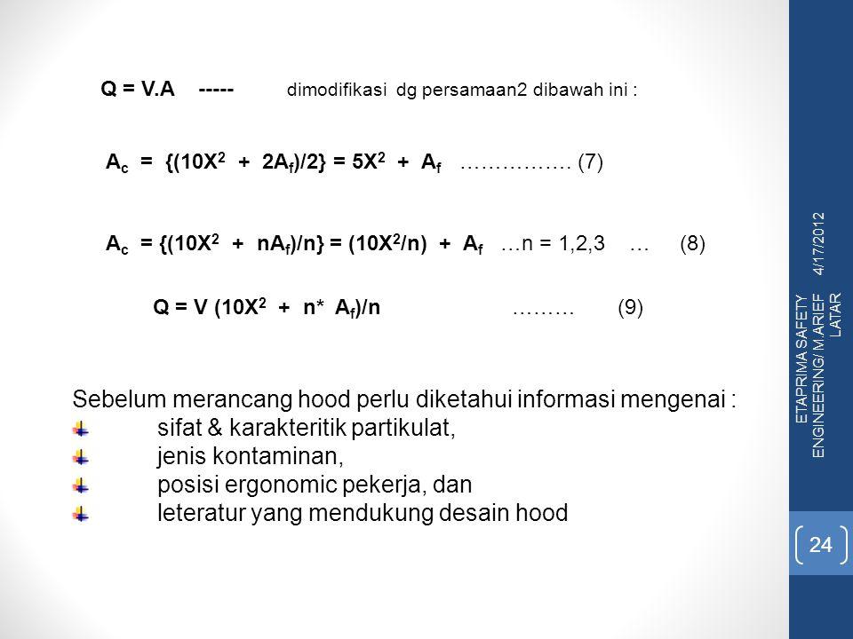 4/17/2012 ETAPRIMA SAFETY ENGINEERING/ M.ARIEF LATAR 24 A c = {(10X 2 + 2A f )/2} = 5X 2 + A f ……………. (7) A c = {(10X 2 + nA f )/n} = (10X 2 /n) + A f