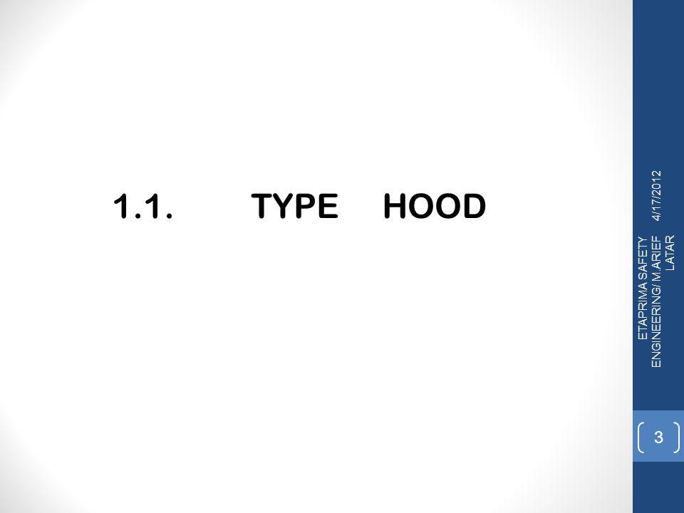 TYPE HOOD Secara fisik dan karakteriknya dalam prose menangkap kontaminan,hood/kap terdapat 2 (dua) type yaitu : 1.Enclosing hood, 2.Exterior hood 2.1.