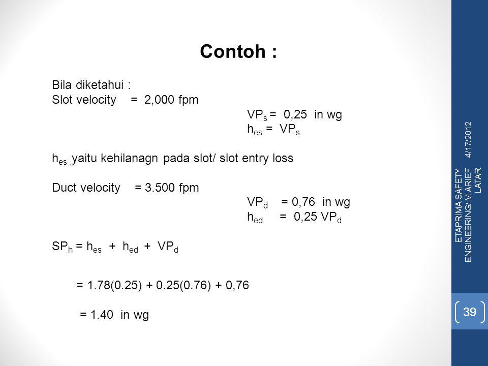 4/17/2012 ETAPRIMA SAFETY ENGINEERING/ M.ARIEF LATAR 39 Contoh : Bila diketahui : Slot velocity = 2,000 fpm VP s = 0,25 in wg h es = VP s h es, yaitu